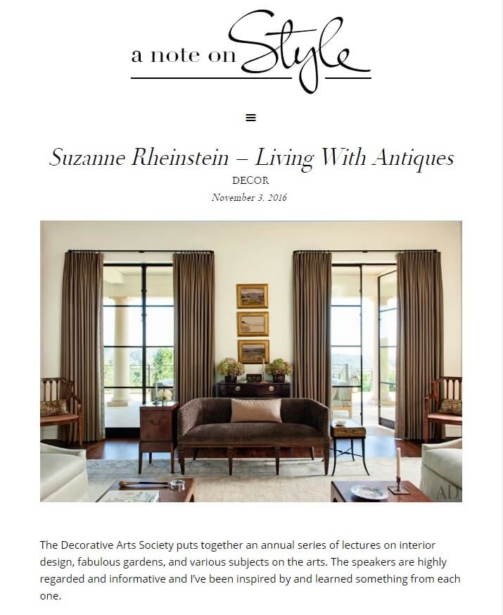 A Note On Style Blog 11 3 16 Internationally Recognized Interior Designer And The Owner Of Hollyhock Suzanne Rheinstein